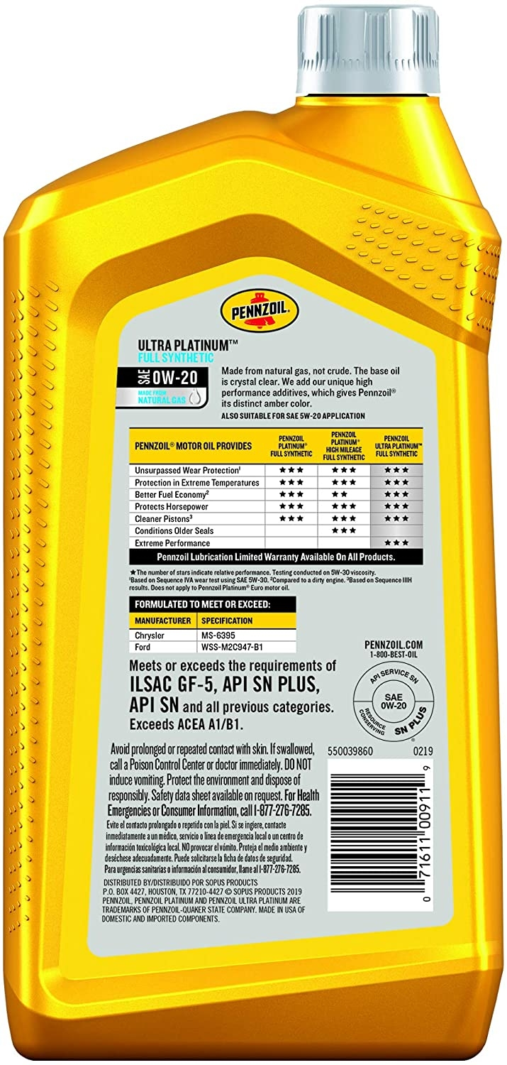 Моторное масло Pennzoil Ultra Platinum Full Synthetic 0w20 (0,946л)    - 1