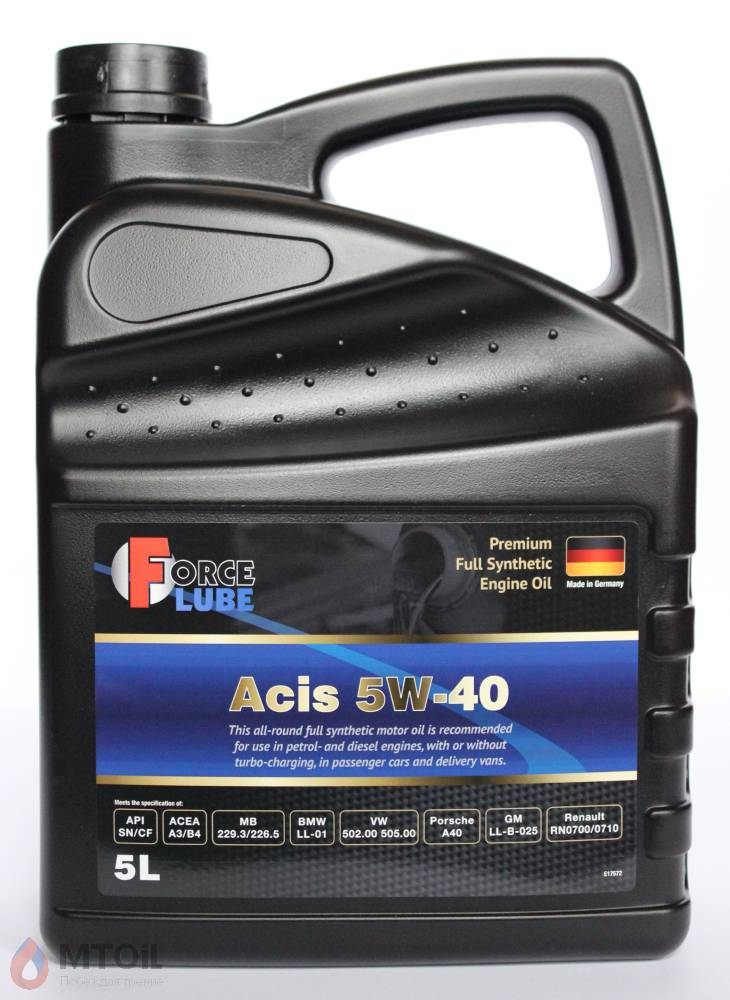 Force Premium Full Synthetic Engine Oil Acis 5w-40 (5л) - 17932