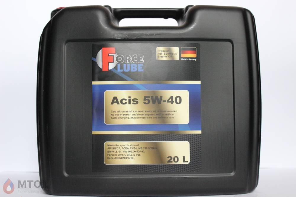 Force Premium Full Synthetic Engine Oil Acis 5w-40 (20л) - 17933